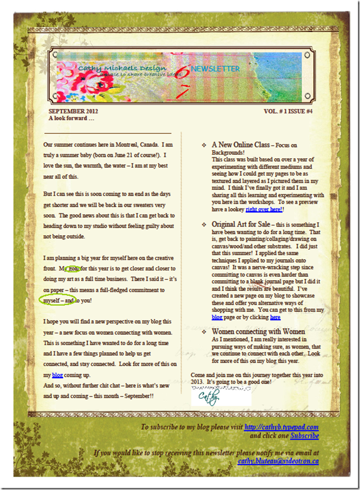 Newsletter September 2012 FOR BLOG POST